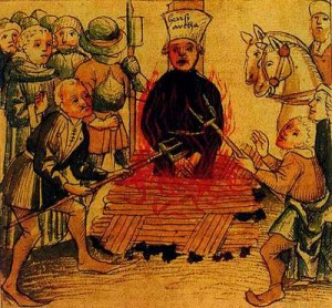 Heretic burnt at the stake -- religious intolerance
